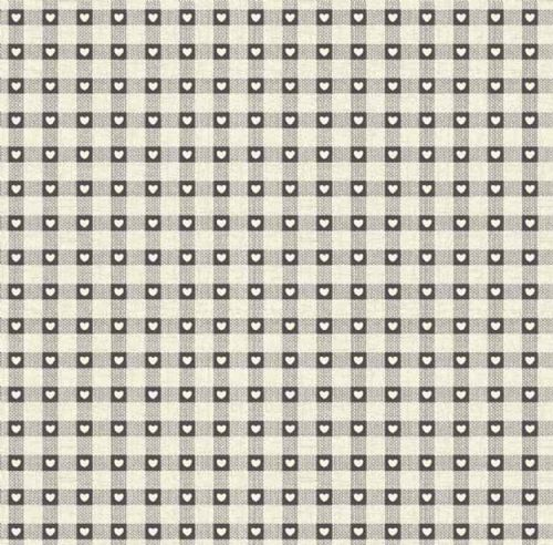 Makower Scandi Grey Gingham Heart Patchwork Fabric